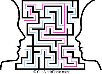 frau, grobdarstellung, puzzel, profile, gesicht, labyrinth, mann