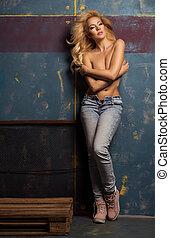 frau, grunge, wand, aus, jeans, nur, attraktive, sexy, blond