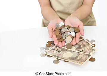 frau, hände halten, geld