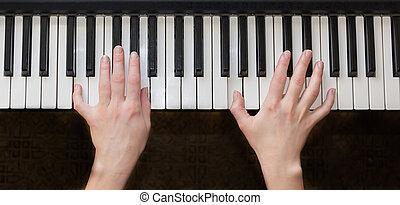 frau, hände, spielenden klavier, music.