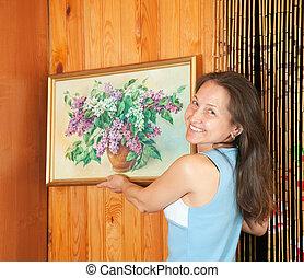 frau, hängender , kunst, abbildung wand