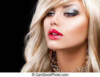 frau, haar mode, portrait., blond, blond