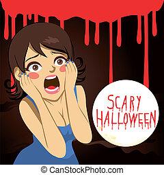 frau, halloween, erschrocken