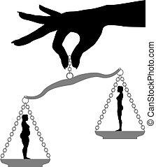 frau, halten, dicker , anfall, gewichtsverlust, diät, skala