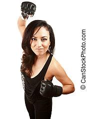 frau, handschuhe, boxen, hübsch, latina
