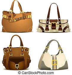 frau, handtasche, sammlung