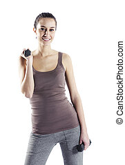 frau, hanteln, freigestellt, weißes, fitness