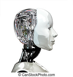 frau, head., roboter