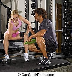 frau, heben, weights.