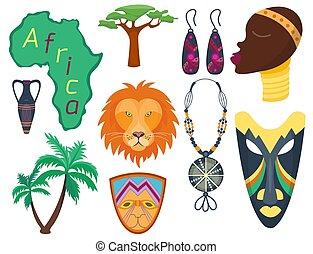 frau, heiligenbilder, stammes-, ethnisch, afrikas, abbildung, traditionelle , kultur, maasai, vektor, dschungel, safari, afrikanisch, uralt, reise
