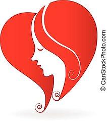 frau, herz, liebe, form, logo