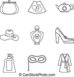 Frau icons set, outline style - Frau icons set. Outline set...