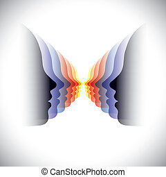 frau, illustration-, bunte, abstrakt, modern, vektor, gesichter