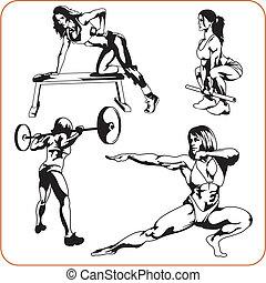 frau, illustration., engagiert, -, vektor, fitness