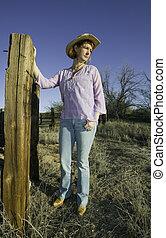 frau, in, a, cowboyhut