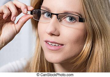 frau, in, brille