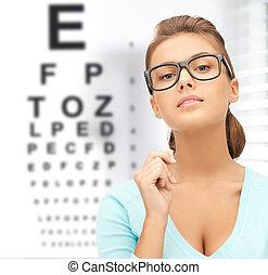 frau, in, brille, mit, beäugen diagramm