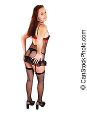 frau, in, damenunterwäsche, und, stockings.