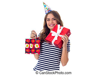 frau, in, feier, kappe, halten geschenken