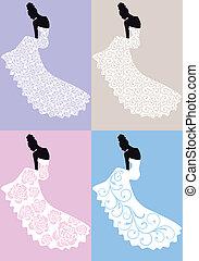 frau, in, heiraten kleid, vektor