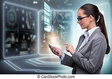 frau, in, internet bankwesen, begriff