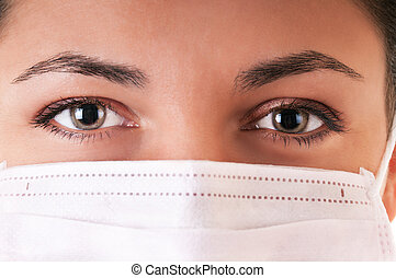 frau, in, medizin, maske