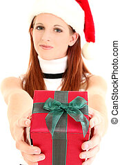 frau, in, nikolausmuetze, gebend, geschenk