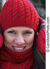 frau, in, rote kappe