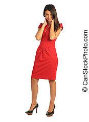 frau, in, rotes kleid