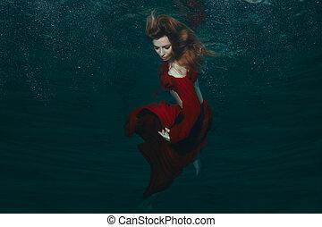 frau, in, rotes kleid, underwater.