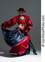 frau, in, schöne , rotes kleid, tanzen, in, a, studio