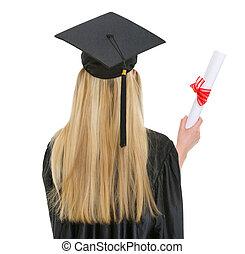 frau, in, staffelung- kleid, mit, diplom, ., hintere ansicht