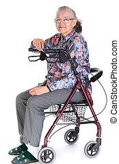 frau, in, walker/wheelchair