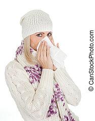 frau, in, warm, winter- kleidung, niesen, von, kalte