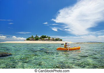 frau, insel, gruppe, kayaking, junger, meer, inseln, fidschi, süden, mamanuca