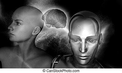 frau, intelligenz, -, roboter, künstlich, gehirn, verbunden, weibliche