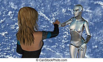 frau, intelligenz, -, roboter, künstlich, technologie