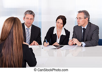 frau, interviewen, businesspeople