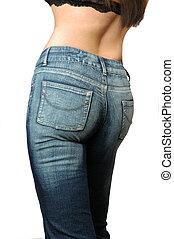 frau, jeans