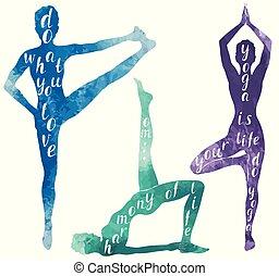 frau, joga, aquarell, silhouetten, pilates, oder, übung