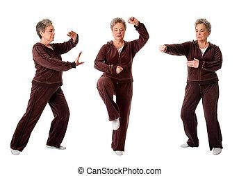 frau, joga, chi, älter, tai, übung