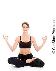 frau, joga, freigestellt, schlanke, flexibel, weißer...
