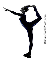 frau, joga haltung, trainieren, natarajasana, tänzer, silhouette