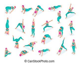 frau, joga, satz, fitness