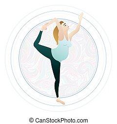 frau, joga, schwanger, abbildung, vektor, schwangerschaft, posen