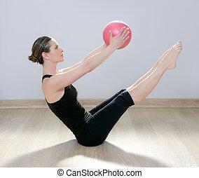 frau, joga, turnhalle, kugel, stabilität, pilates, fitness