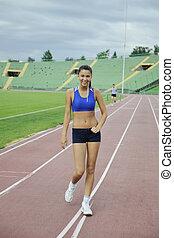 frau, jogging, an, athletik, stadion