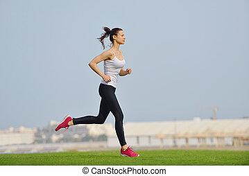 frau, jogging, an, morgen