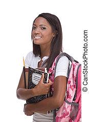 frau, junger, amerikanische , student, afrikanisch