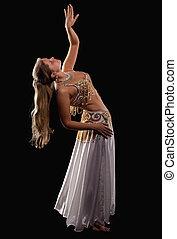 frau, junger, arabisch, posierend, kostüm, orientalische